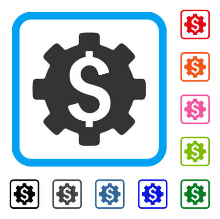Financial Options icon. Flat gray iconic symbol inside a blue rounded rectangular frame. Black, gray, green, blue, red, orange color variants of Financial Options vector.