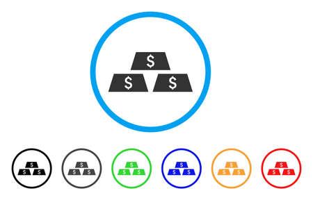 Dollar bullion Bars rounded icon. Style is a flat gray symbol inside light blue circle with bonus colored variants. Illustration