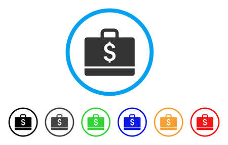Accounting rounded icon. Style is a flat grey symbol inside light blue circle with bonus color variants. Illustration