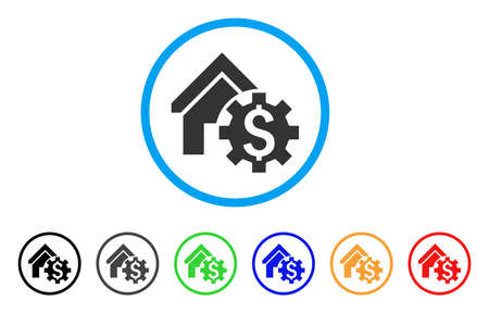 House Rent Options rounded icon. Style is a flat grey symbol inside light blue circle with additional colored variants. House Rent Options vector designed for web and software interfaces.