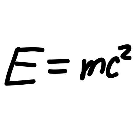 Einstein Energy Formula scribble sketch. Vintage handwritten raster illustration of Einstein Energy Formula.