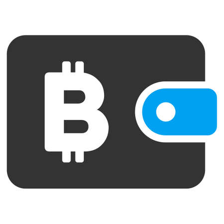 Bitcoin Pouch raster icon. Illustration style is a flat iconic bicolor blue and gray symbol on white background.