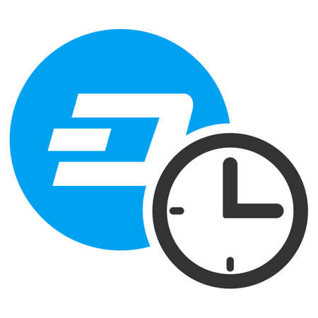 Dash Credit Counter raster pictograph. Illustration style is a flat iconic bicolor blue and gray symbol on white background.