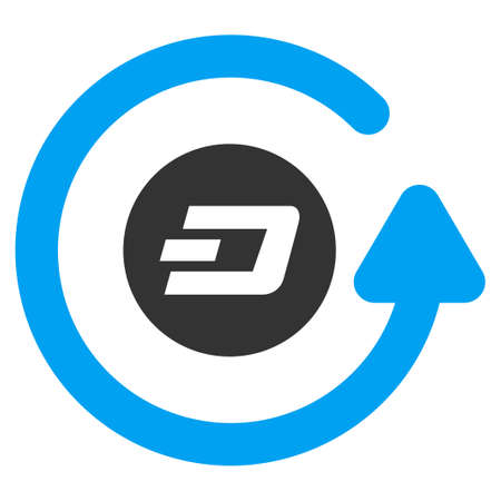 Dash Chargeback raster pictograph. Illustration style is a flat iconic bicolor blue and gray symbol on white background.