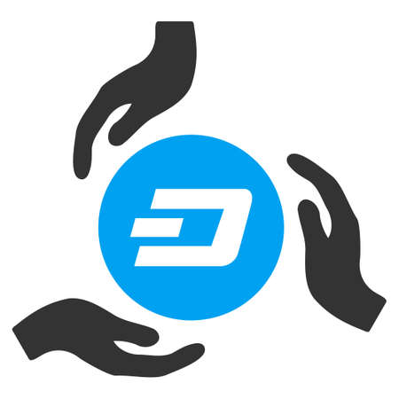 Dash Coin Care Hands raster icon. Illustration style is a flat iconic bicolor blue and gray symbol on white background.