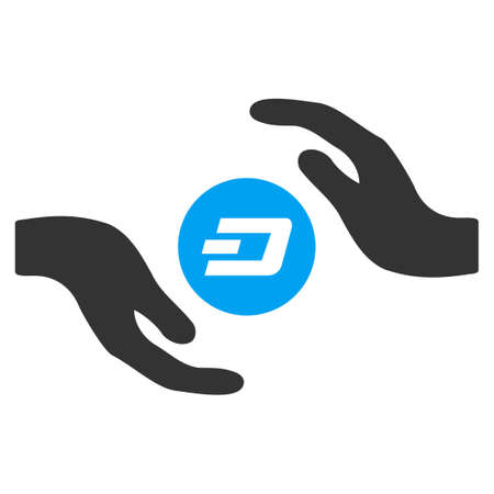 Dash Coin Care Hands raster pictograph. Illustration style is a flat iconic bicolor blue and gray symbol on white background. Stock Photo