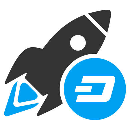 Dash Rocket raster icon. Illustration style is a flat iconic bicolor blue and gray symbol on white background. Stock Photo