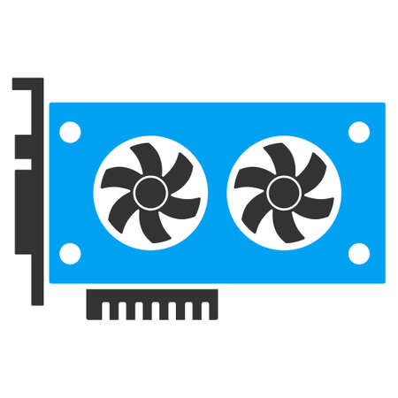 Dual Gpu Videocard raster pictogram. Illustration style is a flat iconic bicolor blue and gray symbol on white background. 版權商用圖片