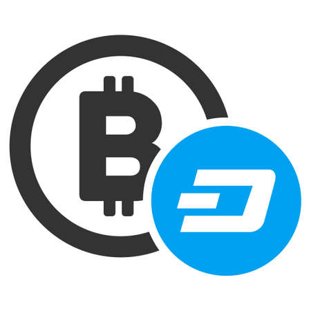 Bitcoin And Dash raster pictograph. Illustration style is a flat iconic bicolor blue and gray symbol on white background.