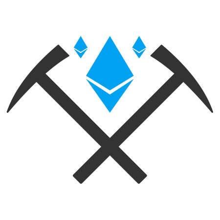 Ethereum Crystal Mining Hammers raster icon. Illustration style is a flat iconic bicolor blue and gray symbol on white background. Stock Photo