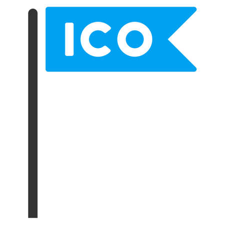 Ico Flag raster pictograph. Illustration style is a flat iconic bicolor blue and gray symbol on white background. Stock Photo