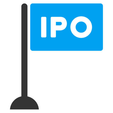 Ipo Rectangle Flag raster icon. Illustration style is a flat iconic bicolor blue and gray symbol on white background. Stock Photo
