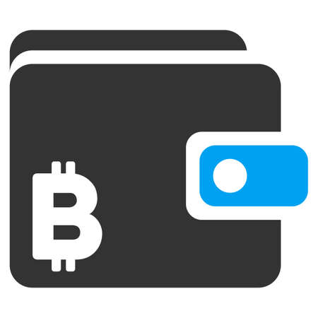 Bitcoin Wallet vector pictogram. Illustration style is a flat iconic bicolor blue and gray symbol on white background. Illustration