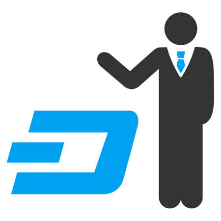 Businessman Show Dash vector pictograph. Illustration style is a flat iconic bicolor blue and gray symbol on white background.