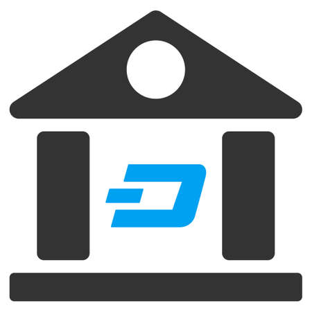 Dash Bank Building vector pictograph. Illustration style is a flat iconic bicolor blue and gray symbol on white background.