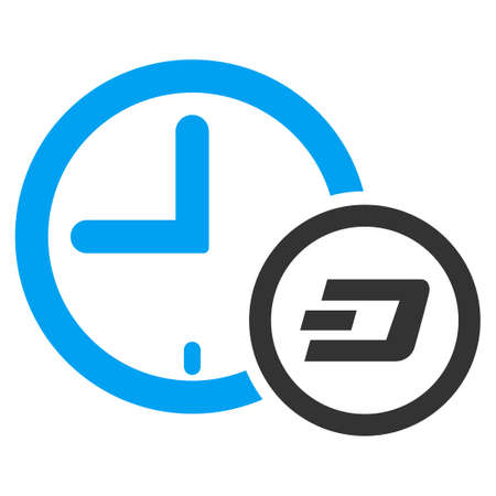 Dash Credit Clock vector pictogram. Illustration style is a flat iconic bicolor blue and gray symbol on white background.