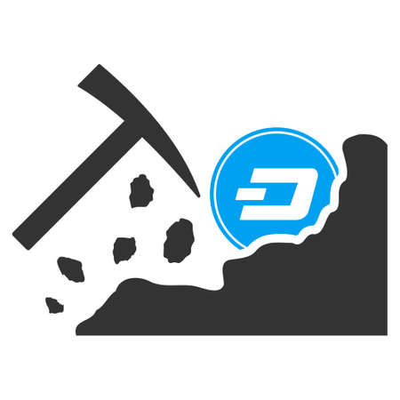 Dash Mining Hammer vector pictogram. Illustration style is a flat iconic bicolor blue and gray symbol on white background.  イラスト・ベクター素材