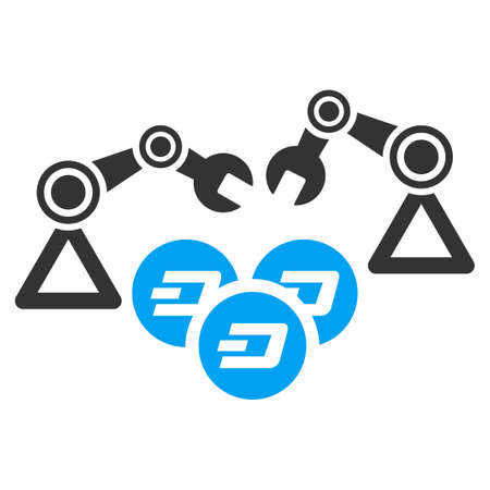 Dash Mining Robotics vector pictograph. Illustration style is a flat iconic bicolor blue and gray symbol on white background. Illustration