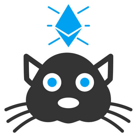 Ethereum Crypto Kitty vector icon. Illustration style is a flat iconic bicolor blue and gray symbol on white background.