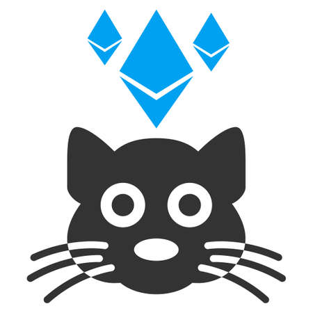 Ethereum Crypto Kitty vector pictogram. Illustration style is a flat iconic bicolor blue and gray symbol on white background.