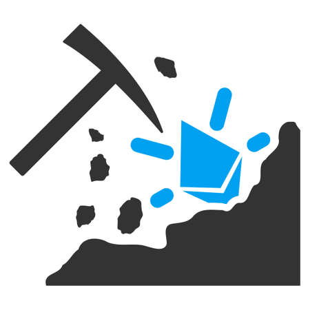 Ethereum Mining Hammer vector icon. Illustration style is a flat iconic bicolor blue and gray symbol on white background.  イラスト・ベクター素材