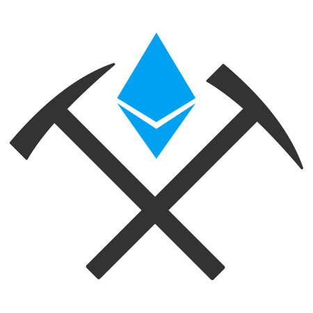 Ethereum Mining Hammers vector pictogram. Illustration style is a flat iconic bicolor blue and gray symbol on white background.