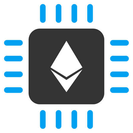 Ethereum Processor Chip vector icon. Illustration style is a flat iconic bicolor blue and gray symbol on white background.