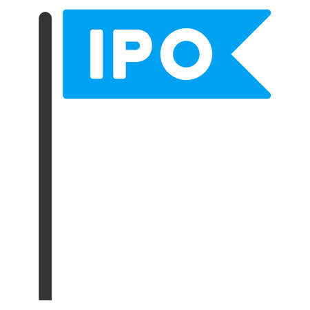 Ipo Flag vector pictogram. Illustration style is a flat iconic bicolor blue and gray symbol on white background.
