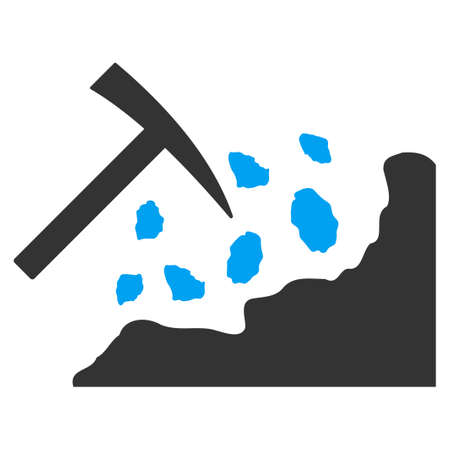 Rock Mining Hammer vector pictograph. Illustration style is a flat iconic bicolor blue and gray symbol on white background.  イラスト・ベクター素材