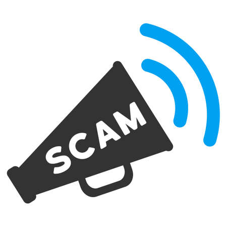 Scam Alert Megaphone vector pictogram. Illustration style is a flat iconic bicolor blue and gray symbol on white background. Illustration