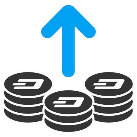 Spend Dash Coins vector pictogram. Illustration style is a flat iconic bicolor blue and gray symbol on white background.