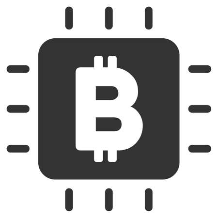 Bitcoin Processor Chip vector icon. Illustration style is a flat iconic gray symbol on white background. Illustration
