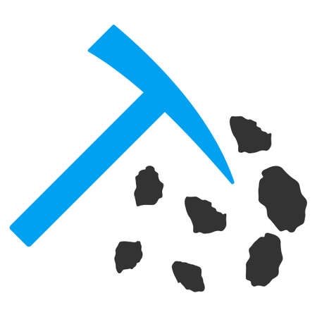 Stone Mining Hammer vector pictogram. Illustration style is a flat iconic bicolor blue and gray symbol on white background. Illustration