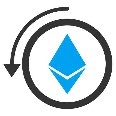 Refund Ethereum Crystall raster icon. Illustration style is a flat iconic bicolor blue and gray symbol on white background.