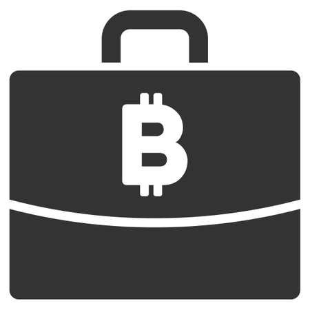 Bitcoin Accounting Case vector icon. Illustration style is a flat iconic gray symbol on white background.