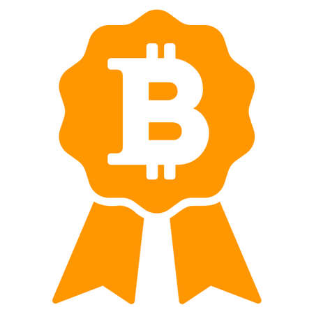 Bitcoin Certificate Seal flat vector icon. An isolated illustration on a white background.