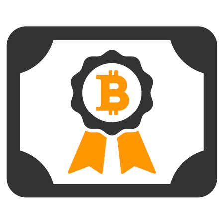 Bitcoin Certificate flat vector illustration. An isolated illustration on a white background.