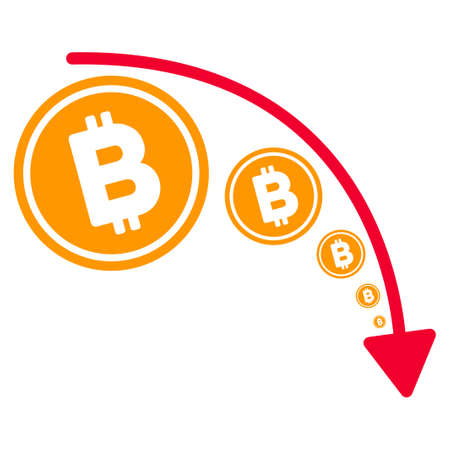 Bitcoin Reduce Trend flat vector pictograph. An isolated illustration on a white background.