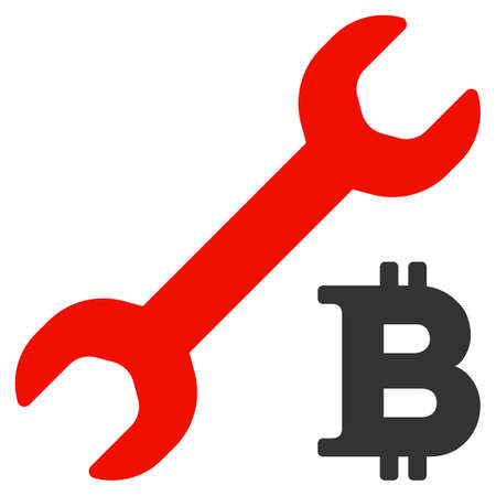 Bitcoin Repair Cost flat vector icon. An isolated illustration on a white background. Ilustracja