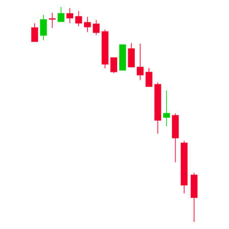 Candlestick falling acceleration chart. Flat vector pictogram. Isolated illustration on a white background.