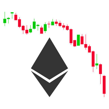 Ethereum Fall Chart flat vector pictograph. An isolated illustration on a white background.
