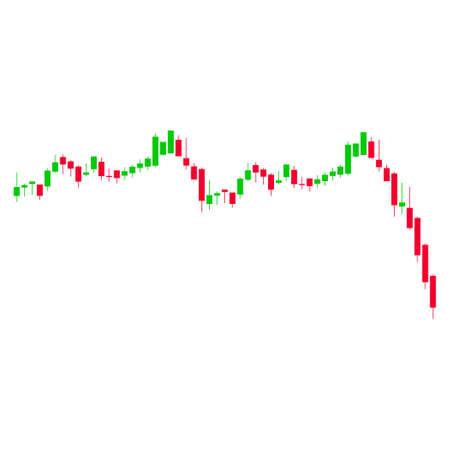 ローソク足グラフ落下加速フラットベクトルピクトグラム。白い背景に孤立したイラスト。