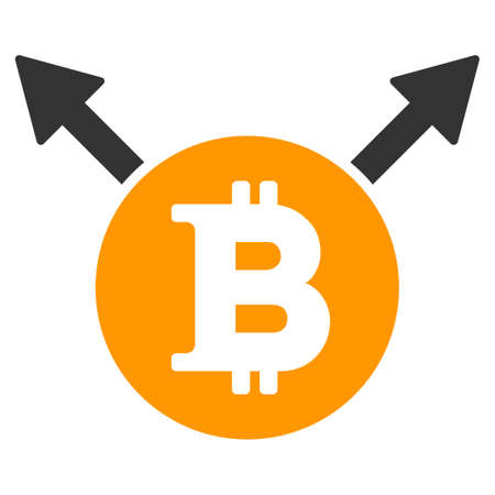 Bitcoin Fork flat vector pictogram. An isolated illustration on a white background.