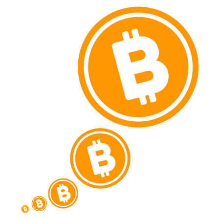 Bitcoin Inflation flat vector illustration. An isolated illustration on a white background.