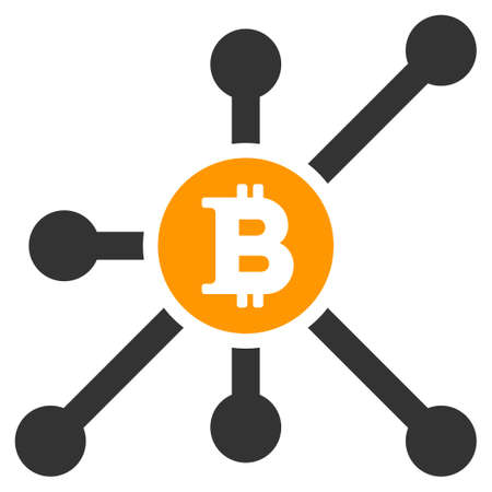 Bitcoin Node flat vector illustration. An isolated illustration on a white background.