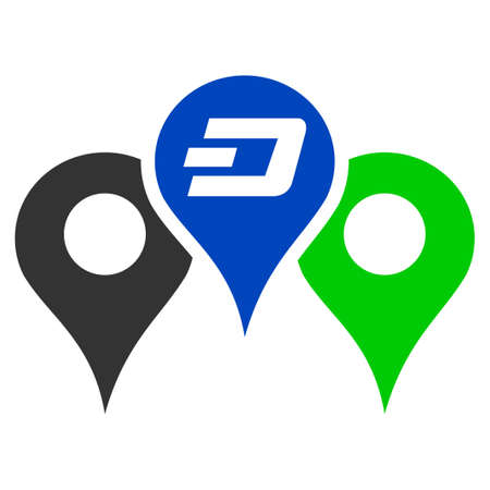 Dashcoin Map Markers flat vector illustration. An isolated illustration on a white background.