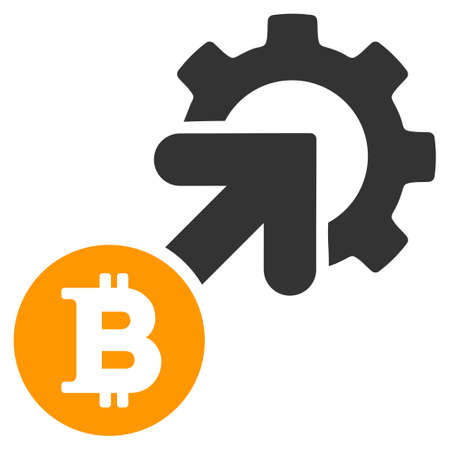 Bitcoin Integration Cog flat raster pictogram. An isolated illustration on a white background.