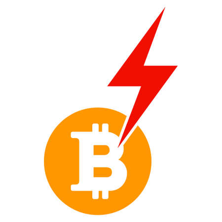 Bitcoin Lightning Strike flat raster icon. An isolated illustration on a white background. Stock Photo