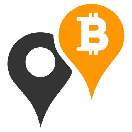 Bitcoin Map Markers flat raster pictogram. An isolated illustration on a white background.