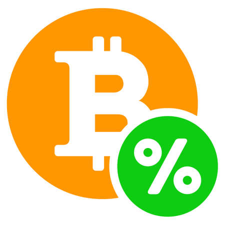 Bitcoin Percent flat raster pictogram. An isolated illustration on a white background. Zdjęcie Seryjne